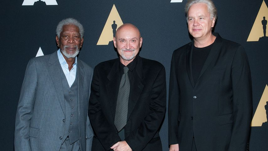 """Morgan Freeman, Frank Darabont und Tim Robbins bei der Jubiläumsfeier von """"Die Verurteilten"""" 2014"""