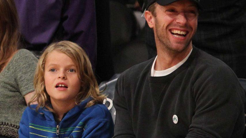 Männer-Tag! Chris Martin & Sohnemann Moses beim Basketball