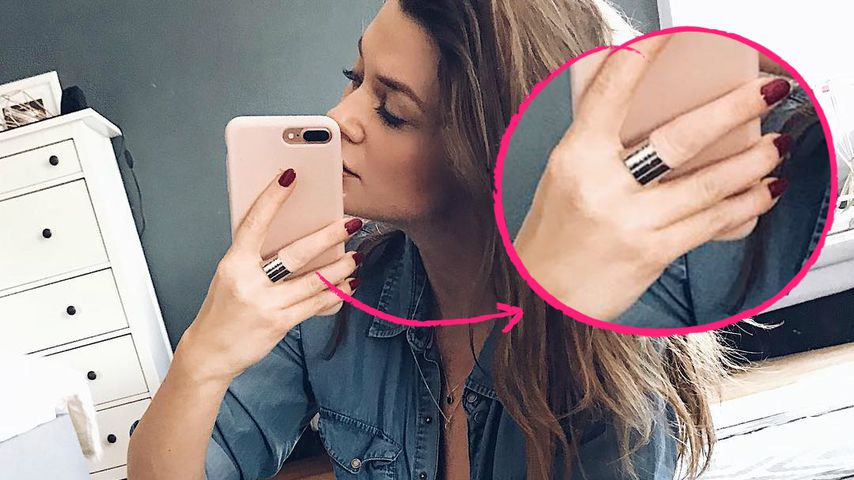 Collage: Nadine Klein mit verdächtigem Ring
