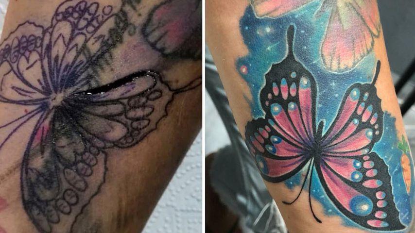 Natascha Ochsenknechts Tattoo vor und nach dem Cover-up