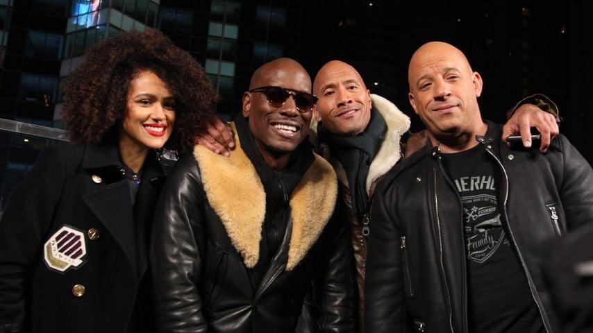 Nathalie Emmanuel, Tyrese Gibson, Dwayne Johnson und Vin Diesel in New York
