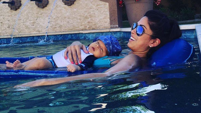 Nicole Michele Johnson mit ihrem Sohn Boomer