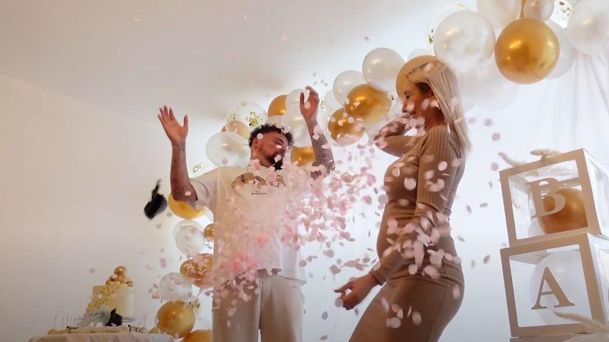 Niklas und Jessi Schröder bei ihrer Gender-Reveal-Party