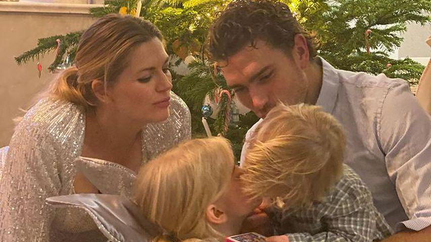Nina Bott mit ihrem Mann Benjamin Baarz und ihren Kindern Luna und Lio