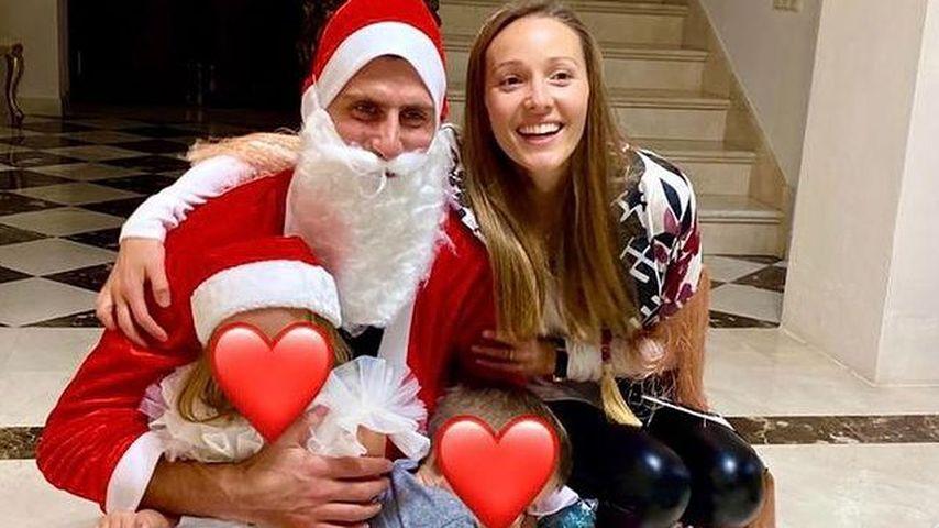 Novak Djokovic, seine Frau Jelena und ihre Kinder