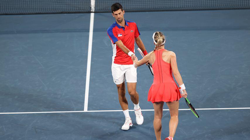 Novak Djokovic und Nina Stojanovic bei den Olympischen Spielen