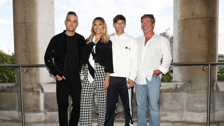 Robbie Williams, Ayda Field, Louis Tomlinson und Simon Cowell