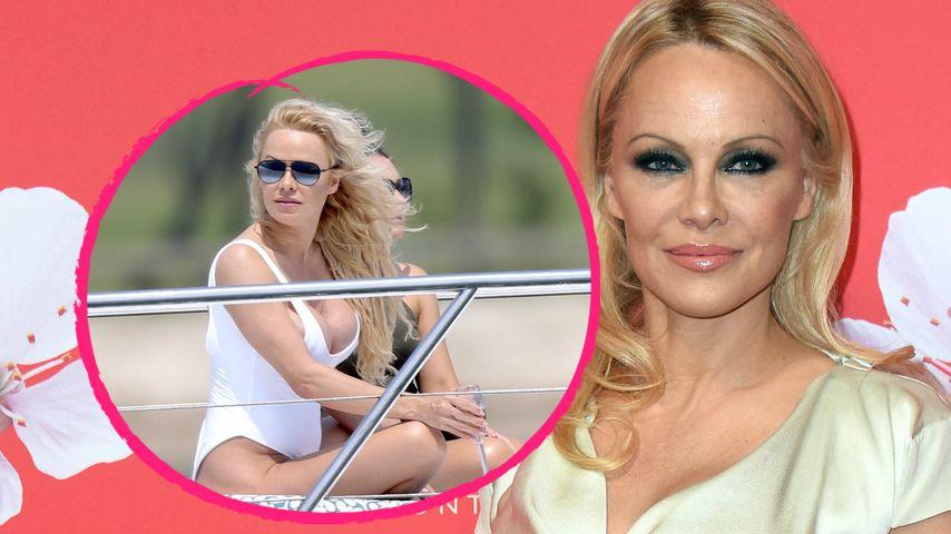 Heiße Posen: Pamela Anderson rekelt sich sexy im Badeanzug