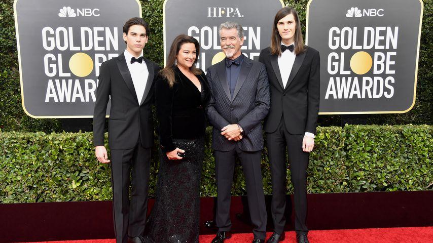 Paris, Keely Shaye, Pierce und Dylan Brosnan bei den Golden Globes im Januar 2020