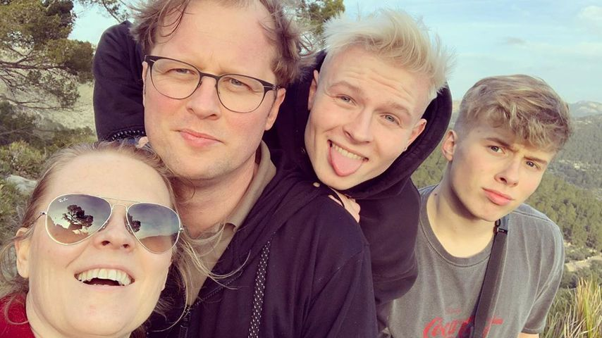 Patricia Kelly mit ihrem Mann und ihren zwei Söhnen, Februar 2020