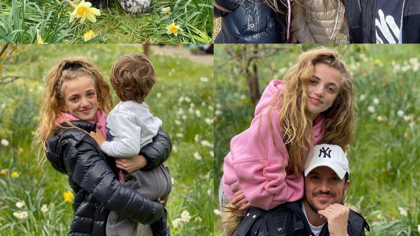Collage: Peter Andre mit seiner Frau Emily und den Kindern Princess, Amelia und Theodore