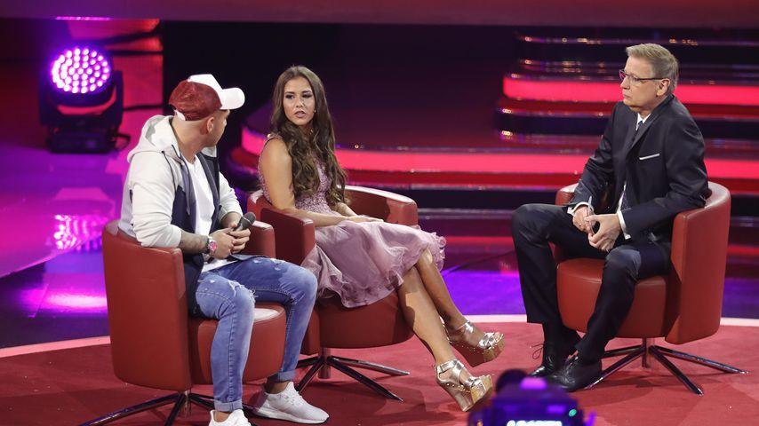 Pietro und Sarah Lombardi und Moderator Günther Jauch beim RTL-Jahresrückblick