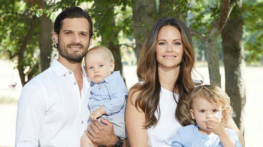 Prinz Carl-Philip mit seiner Frau Sofia und seinen Söhnen Gabriel und Alexander