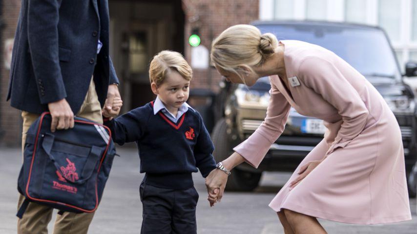 Prinz William, Prinz George und Helen Haslem bei Georges erstem Schultag 2017 in London