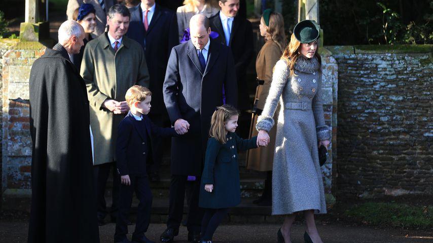 Prinz George, Prinz William, Prinzessin Charlotte und Herzogin Kate bei der Weihnachtsmesse