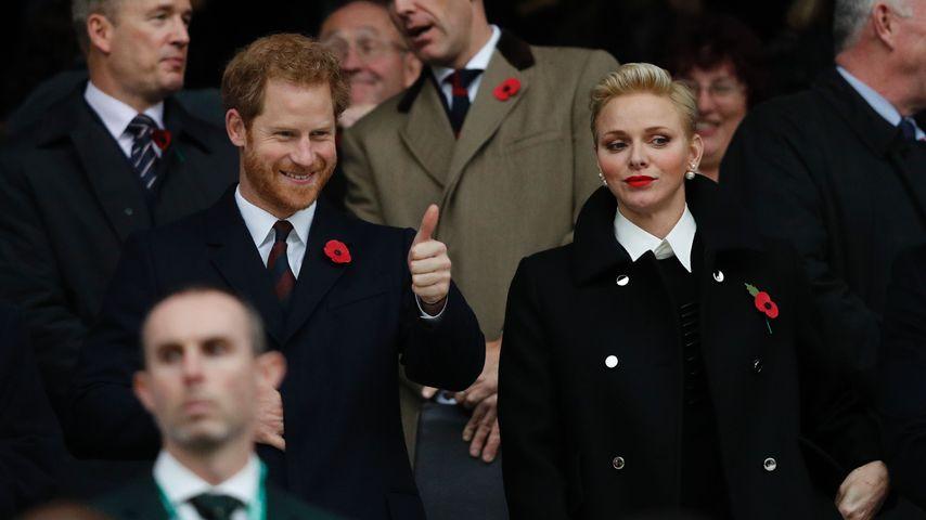Prinz Harry und Fürstin Charlène von Monaco beim Rugbyspiel in London