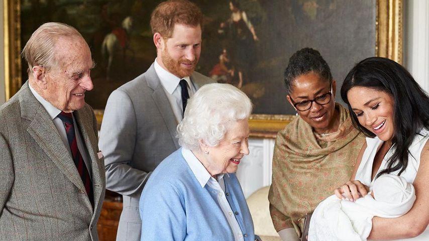 Prinz Philip, Prinz Harry, Queen Elizabeth II., Doria Ragland, Archie Harrison und Herzogin Meghan