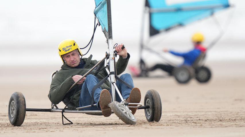 Prinz William beim Strandsegeln in St Andrews