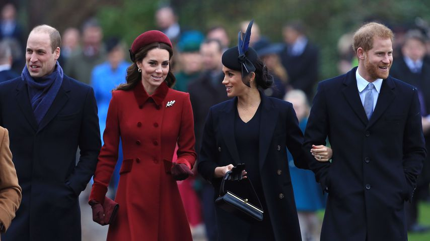Prinz William, Herzogin Kate, Herzogin Meghan und Prinz Harry in Sandringham