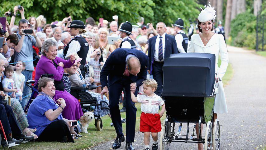 Prinz William, Prinz George und Herzogin Kate im Juli 2015 in King's Lynn