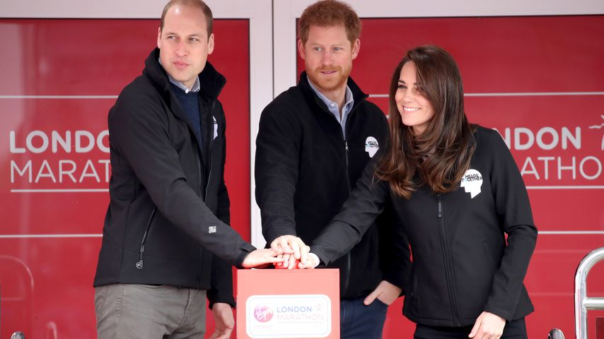 Prinz William, Prinz Harry und Herzogin Kate beim Start des London Marathons