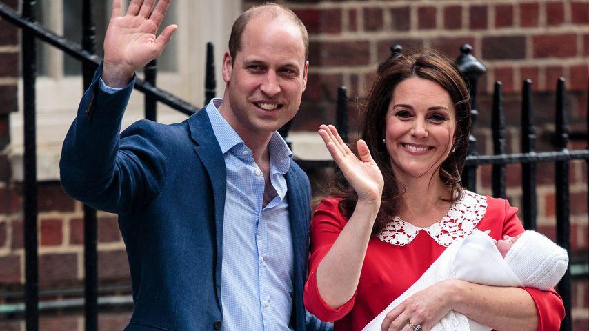 Prinz William und Herzogin Kate mit Prinz Louis im April 2018
