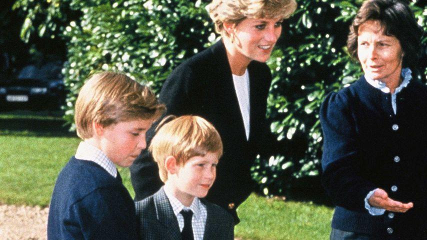 Prinz William und Prinz Harry mit Prinzessin Diana an ihrem Internat 1992