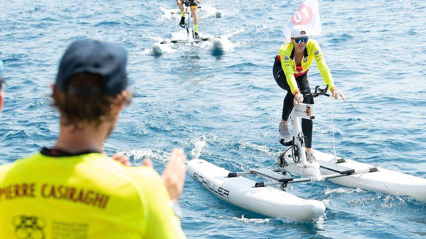 Pierre Casiraghi (l.) und Prinzessin Charlène bei der Riviera Waterbike Challenge in Monaco