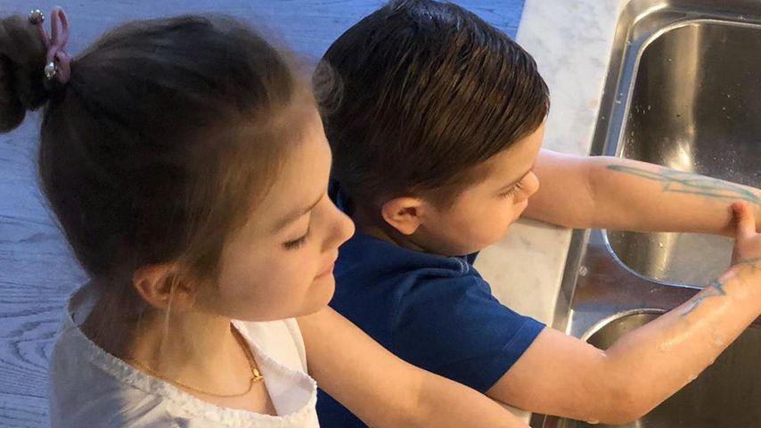 Neue Bilder: Estelle und Oscar von Schweden waschen Hände