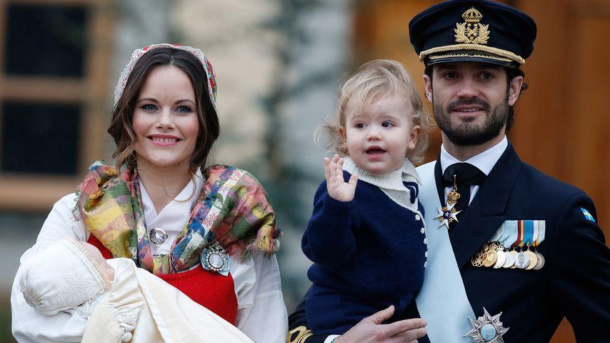 Prinzessin Sofia, Prinz Carl Philip, Prinz Gabriel und Prinz Alexander bei Gabriels Taufe