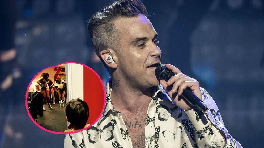 Robbie Williams: Sohn (2) bespitzelt schon sexy Tänzerinnen!