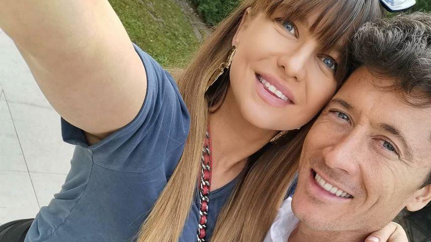 Anna Lewandowska mit ihrem Mann Robert, April 2020