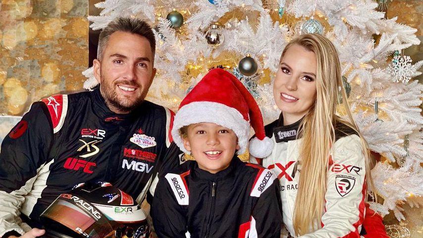 Romain Thievin mit Sohn Matis und Partnerin Doreen Seidel an Weihnachten 2020