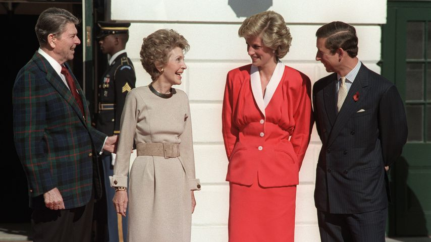 Ronald und Nany Reagon mit Lady Diana und Prinz Charles in Washington, 1985