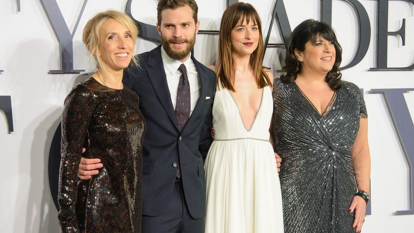 Dakota Johnson, Jamie Dornan, E. L. James und Sam Taylor-Wood