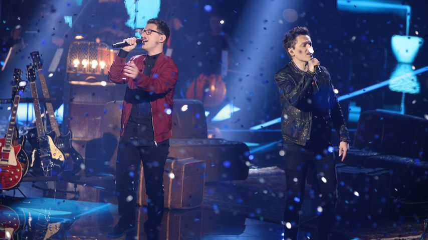 "Samuel Rösch und Michael Patrick Kelly beim ""The Voice of Germany""-Finale 2018"