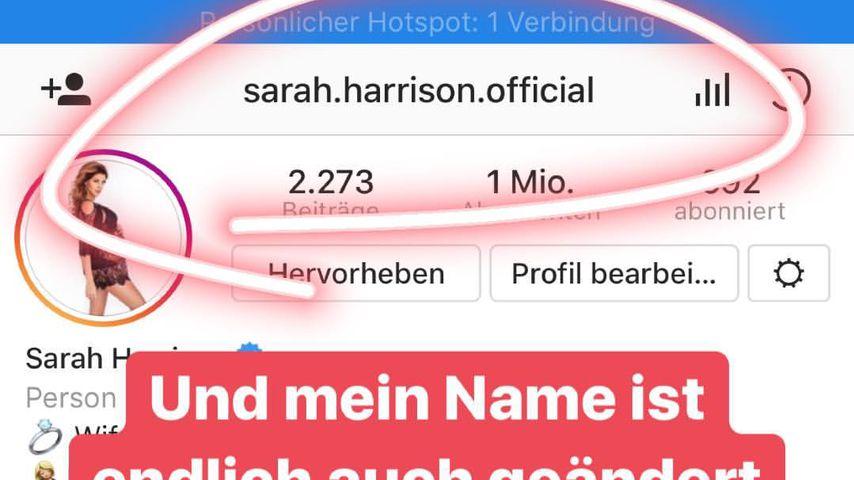 Sarah Harrisons, Instagram-Profil