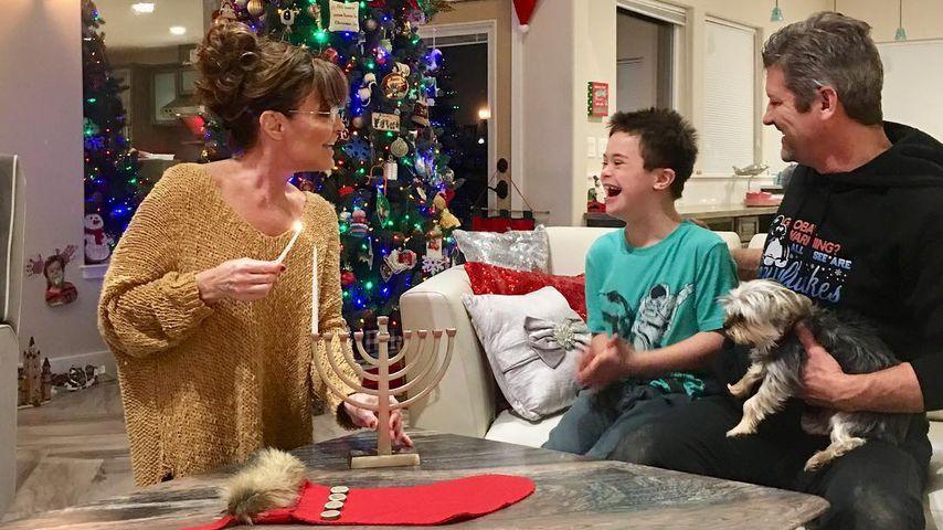 Sarah, Trig und Todd Palin an Hanukkah, Dezember 2018