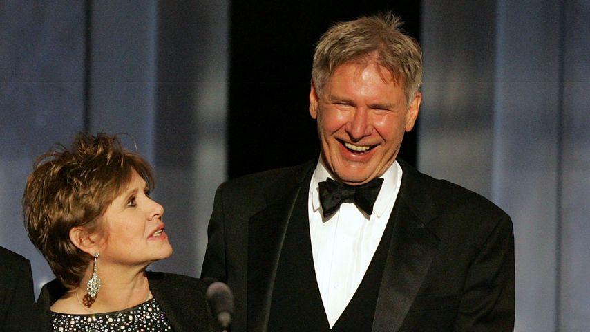 Schauspielerin Carrie Fisher und Schauspieler Harrison Ford