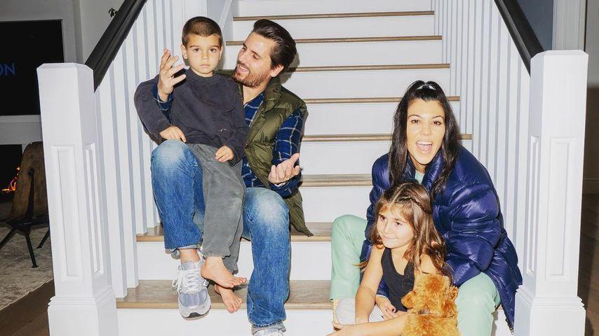 Scott Disick und Kourtney Kardashian mit ihrem Sohn Reign und Tochter Penelope