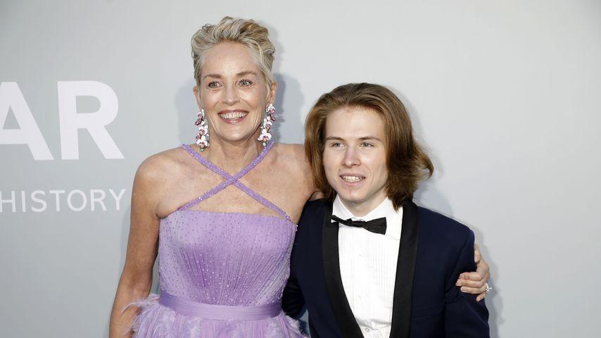 Sharon Stone und ihr Sohn Roan bei der AmFAR-Gala in Cannes 2021
