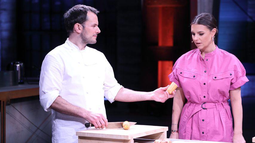"""Steffen Henssler und Laura Wontorra bei """"Grill den Henssler"""""""