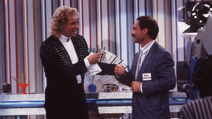 """Thomas Gottschalk und Bernd Fritz bei """"Wetten, dass...?"""" 1988"""