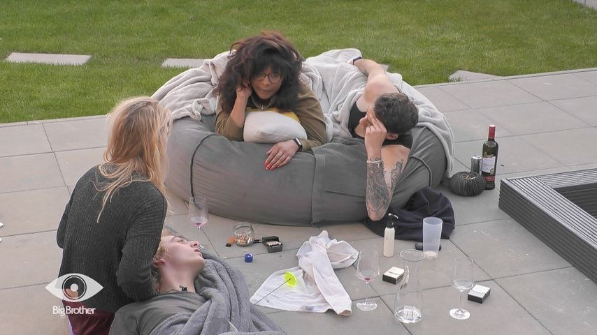 "Tim, Rebecca, Vanessa und Pat im ""Big Brother""-Haus"