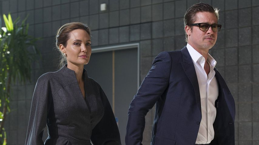 """""""Tomb Raider""""-Star Angelina Jolie und Brad Pitt im Juni 2014 in London"""