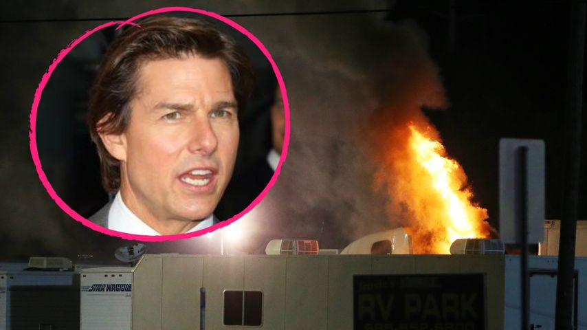 Wohnwagen brennt! Tom Cruise bei Feuer am Filmset vor Ort