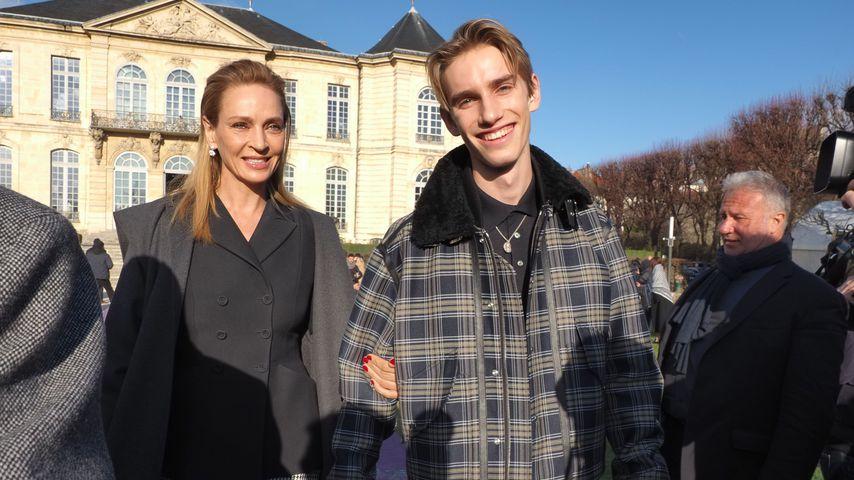 Uma Thurman mit ihrem Sohn Levon in Paris, Januar 2020