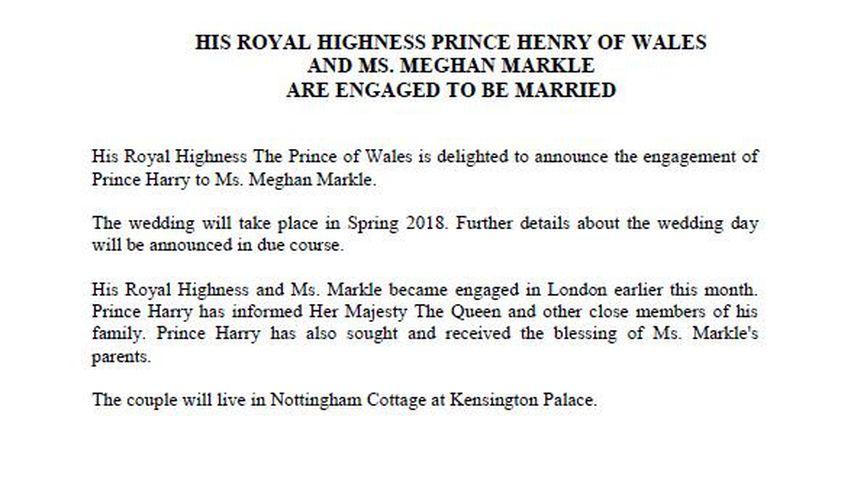 Verlobungsstatement von Prinz Harry und Meghan Markle