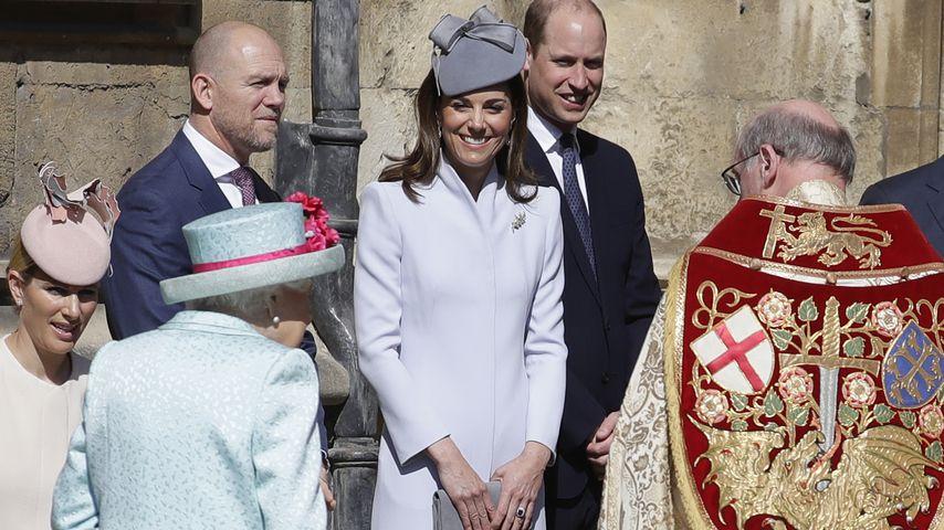 Zara & Mike Tindall, Queen Elizabeth II., Herzogin Kate und Prinz William (21. April 2019, Windsor)