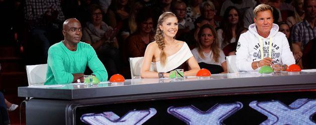"""Bruce Darnell (l.), Victoria Swarovski und Dieter Bohlen bei """"Das Supertalent"""""""